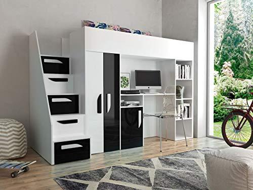 Etagenbett für Kinder PARTY 14 Stockbett mit Treppe und Bettkasten KRYSPOL (Weiß + Schwarzer Glanz)