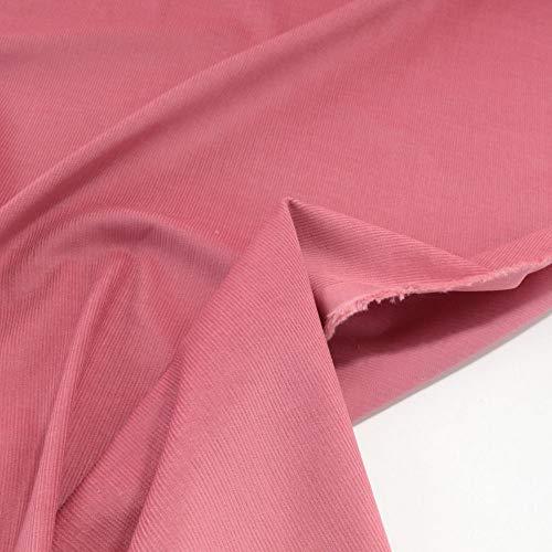 TOLKO 1m Baby Cord Stoff | feiner Baumwoll Cordsamt | Bekleidungsstoff für Hosen Jacken Kleider | weiche querelastische Meterware 140cm breit | uni Baumwollstoffe Nähstoffe günstig kaufen (Lachs Rosa)