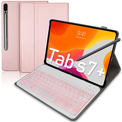 Upworld - Custodia per tastiera per Samsung Galaxy Tab S7+ Tab S7 Plus 12,4 cm 2020 Release (SM-T970 T975 T976) 7 colori retroilluminati tastiera Bluetooth PU [Inglese US-Layout] colore:rosa