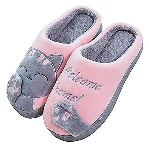 Vertvie Damen Lammfell Hausschuhe Stiefel Warm Plüsh Weich Pantoffeln Schlappen Schuhe Slipper(Rosa, 40-41)