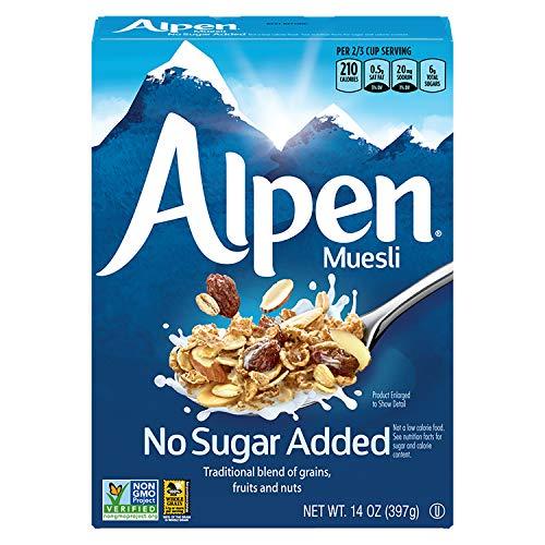 Alpen No Sugar Added Muesli, Swiss Style Muesli Cereal, Whole Grain, Non-GMO Project Verified, Heart Healthy, Kosher, Vegan, No Sugar Added, 14 Oz Box (Pack of 6)