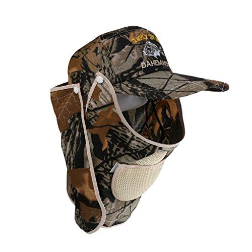 Gazechimp Casquette de Pêche Sport Outdoor Chapeau de Chasse Randonnée avec Protecteur Cou Visage Flap Cap
