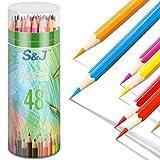 Juego de 48 lápices de colores, lápices acuarelables, 48 lápices de colores para niños, alta resistencia a la rotura, lápices de madera para dibujar o hacer bocetos en casa y en la escuela