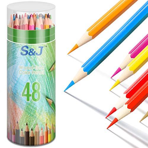 Lot de 48 crayons de couleur aquarelle - 48 crayons de couleur pour enfants - Résistance accrue à la rupture - Pour dessiner ou esquisser à la maison et à l'école