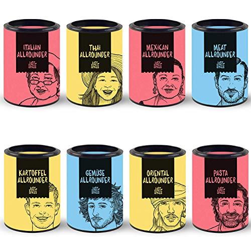 Just Spices 8er Allrounder Gewürzbox I Gewürz Set in schöner Holz Box I 8 verschiedene Gewürzmischungen zum Verschenken I Geschenkset für Frauen und Männer