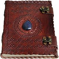 """Hecha a mano, tamaño grande 8""""Piel repujada Celta Dos Cierres Azul Piedra Blank Personal diario cuaderno rellenable regalo"""