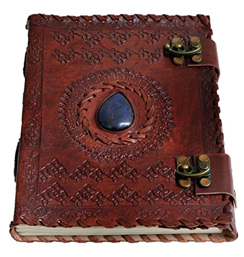 Handmade Large 8' Embossed Leather Journal Celtic two latches blue stone blank personal Diary notebook refillable journal gift