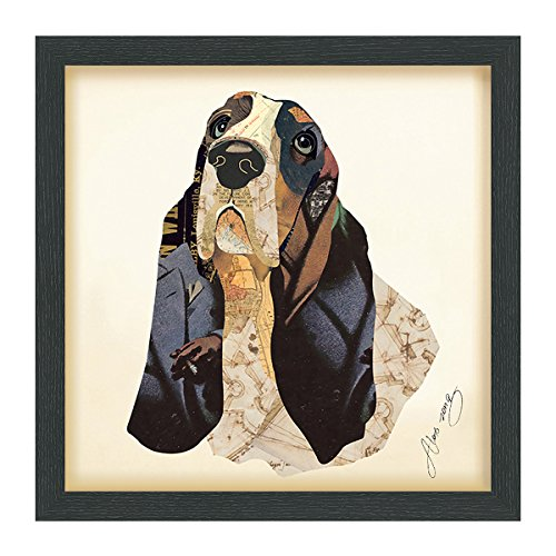 "Empire Art Direct Basset Hound Dimensional Collage Handmade by Alex Zeng Framed Graphic Dog Wall Art, 17"" x 17"" x 1.4"", Ready to Hang"