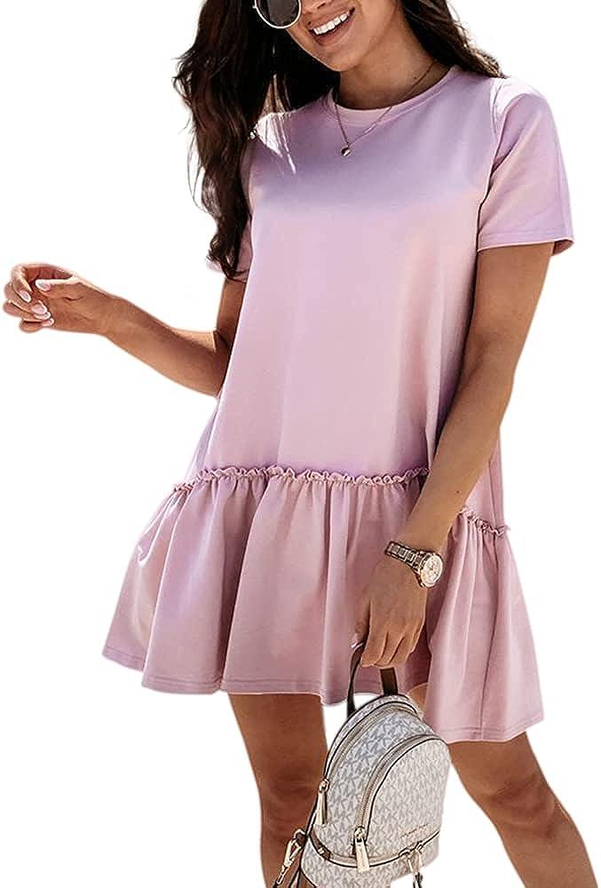 MISSACTIVER Women's Cute Babydoll Tiered Short Sleeve Dress Casual Ruffles Hem Round Neck Loose Mini Swing Dresses