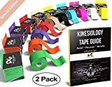 Physix Gear Sport Kinesiology Tape (2 Pack or 1 Pack), Best Waterproof Muscle Support Adhesive, 2in x 16.4ft Roll Uncut, Physio Therapeutic Aid for Injury Recovery, Free 82pg E-Guide -Beige 2 Pack