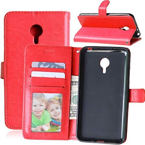 Wenlon Handy PU Hülle für Meizu MX4 Pro, Hochwertige Business Kunstleder Flip Wallet Handyhülle mit Card Slot Funktion, Bracket Funktion - Rot