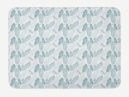 Teal en witte badmat, pastel gekleurde grunge kijken veren vliegen Boheemse etnische, pluche badkamer Decor Mat met niet-slip backing, 23,6 x 15,7 inch, Teal donkerblauw wit