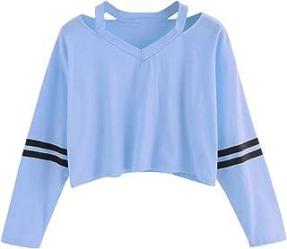 comprar comparacion ZODOF Sudaderas Cortas para Mujer,Moda para Mujer Sudadera de Manga Larga con Cuello en V Tops Casual Blusa Contraste del ...