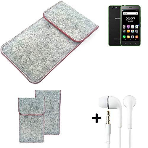 K-S-Trade® Handy Schutz Hülle Für Hisense Rock Lite Schutzhülle Handyhülle Filztasche Pouch Tasche Case Sleeve Filzhülle Hellgrau Roter Rand + Kopfhörer