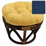 DCG Stores 18-Inch Bali Rattan Papasan Footstool with Cushion - Solid Microsuede Fabric, Indigo Exclusive