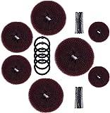 Donut Bun Maker, MORGLES Hair Bun Maker 7pcs Hair Ring Style Bun Maker Set with 5pcs Hair Elastic Bands, 20pcs Hair Pins (Dark Brown)