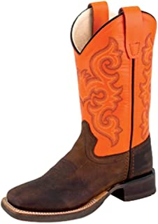 Old West Children's Leather Broad Square Toe Cowboy Boots - Brown Neon Orange