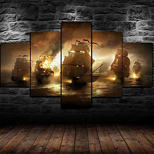 VYQDTNR - Multi Panel Prints 5 Piece Canvas Pirate Ships Wall Art Decor Abstract Canvas Painting Pictures Modern Home Living Kitchen Dining Room Decoration
