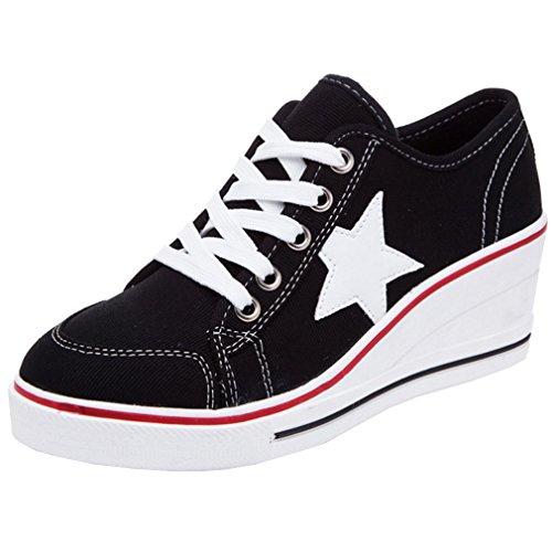 Solshine Damen Canvas Sportlich Low Top Keilabsatz Schnürer Sneaker-Wedges Sportschuhe schwarz 39 EU / 5 UK / 7 US