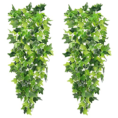 CEWOR 2pcs Artificial Hanging Plants Fake Ivy Garland Vine for Wall Home Garden Wedding Outside Hanging Decoration ( No Pots )
