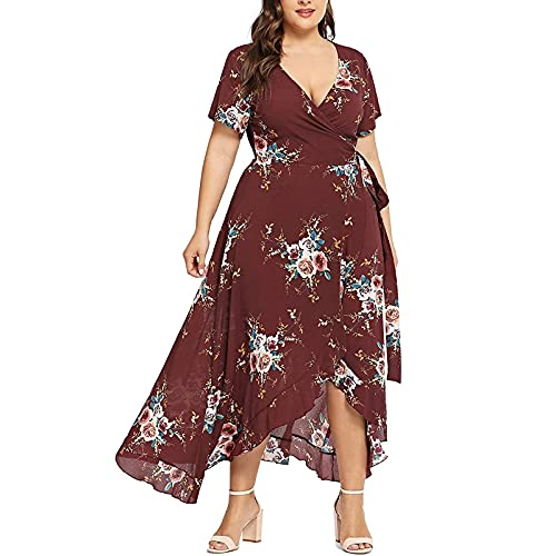 FQZWONG Women's Plus Size Wrap V-Neck Floral Print Short Sleeves Dress Fashion Casual Maxi Dress for Party Dating (B-Red,Large)