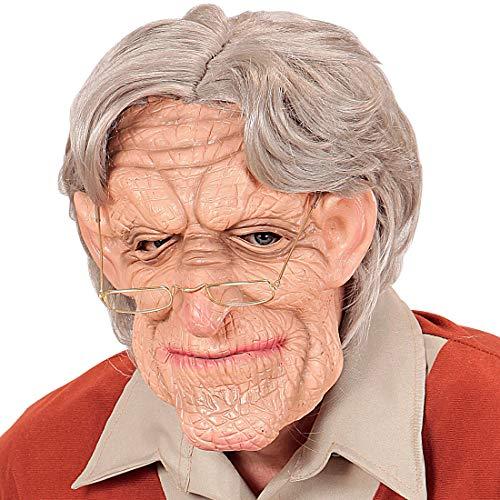 NET TOYS Runzelige Opa-Maske mit Perücke - Hautfarben-Grau - Außergewöhnliche Unisex-Gesichtsmaske Großvater aus Latex - Bestens geeignet für Fasching & Karneval