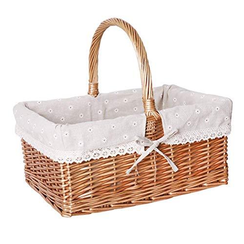 Picnic Basket Small Basket Bamboo Basket Shopping Basket Vegetable Blue Fruit Basket Rattan Shopping Basket Storage Basket Egg Basket Woven Basket Snow Lining [No Cover] (Color : Gray, Size : A)