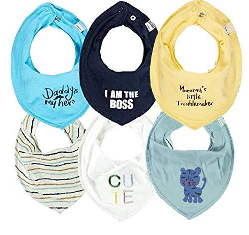 NAME IT  6er Set Halstücher HAPPY PRICE 6 Stück Dreieckstücher Sabberlätzchen verschiedene Sets (6er Packs) (Set I AM THE BOSS)