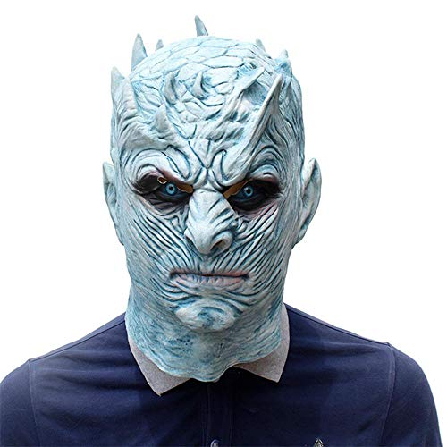 Umiwe Máscara Facial de látex Juego de Tronos Realista Rey de la Noche White Walker Head Mask Disfraces de Halloween Scary Mask Halloween Carnaval Cosplay Decoration