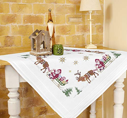 Table Topper Embroidery Kit With Merry Christmas Design With Enchanting Reindeer And Father Christmas On Sleigh 80 X 80 Cm Pre-Printed Cross Stitch Pattern 100% Cotton Thread High Quality