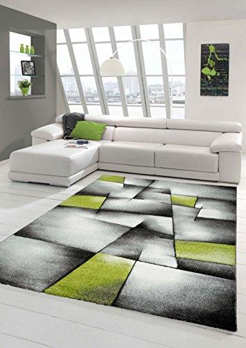 Designer Teppich Moderner Teppich Wohnzimmer Teppich Kurzflor Teppich mit Konturenschnitt Karo Muster Grün Grau Weiß Schwarz (200 cm Quadrat)