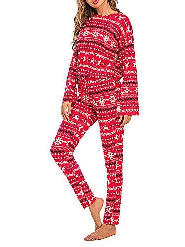 Conjunto de pijama de Navidad para mujer, diseño de copo de nieve con estampado de alces de manga larga, ropa de dormir de pijama suave, rosso, M