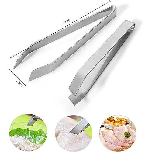 Ecloud Shop 2 piezas de acero inoxidable alicates de espina de pescado espina de pescado clip de utensilios de cocina del hogar Puntear pinzas