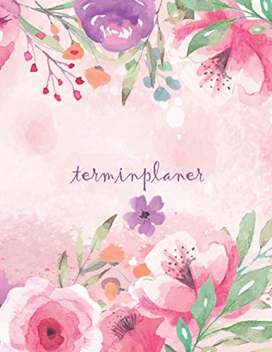 Terminplaner: Kosmetikstudio & Nagelstudio DATEN Kalender | 8AM - 8PM Friseur Salon Terminbuch | Mon - Son Beauty Tageskalender | Inkl. Kundenbuch | Watercolor Flowers