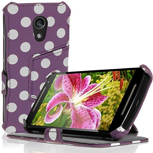 iGadgitz U3420 PU Ledertasche Schutzhülle Kompatibel mit Motorola Moto G 2. Gen 2014 XT1068 (G2) mit Betrachtungs + Displayschutzfolie - Lila