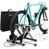 RIF6 Magnetic Bike Trainer Stand - Foldable Stainless Steel Indoor Trainer with 6 Resistance Levels - Portable Low Noise Stationary Bicycle Stand - Fits 26 to 29 inches Road and Mountain Bike Wheels