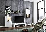 BMG Möbel Wohnwand Schrankwand Wohnzimmerschrank Mediawand Anbauwand TV-Element Orlando in weiß/schwarz inkl. LED Beleuchtung. Made in Germany