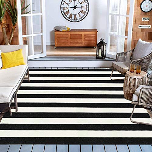 Black and White Striped Outdoor Indoor Rug 5' x 6' 7', Collive Farmhouse Cotton Woven Outdoor Rugs Runner, Washable Layered Front Door Mat for Layered Door Mats/Porch/Kitchen/Bathroom/Laundry Room