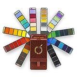Apolo Arte Acuarelas Profesionales - Juego de Pinturas de Acuarela Premium | 56 Colores (Incluye Acuarelas Metalizadas) + Pincel Acuarela | Paleta Acuarela para Artistas