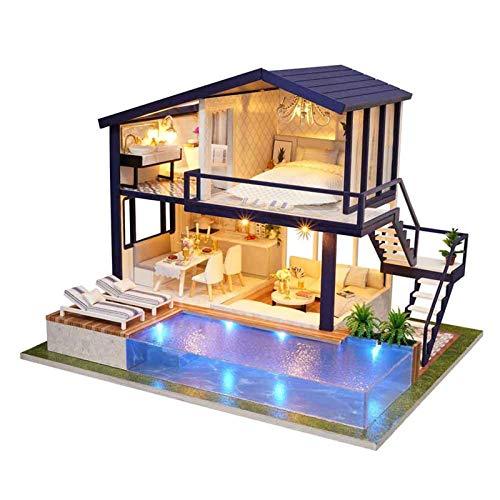 Ishine Kit de bricolaje para casa de muñecas en miniatura con muebles, casa de muñecas pequeña casa 3D madera manual tiempo de montaje apartamento con cubierta de polvo, regalo creativo