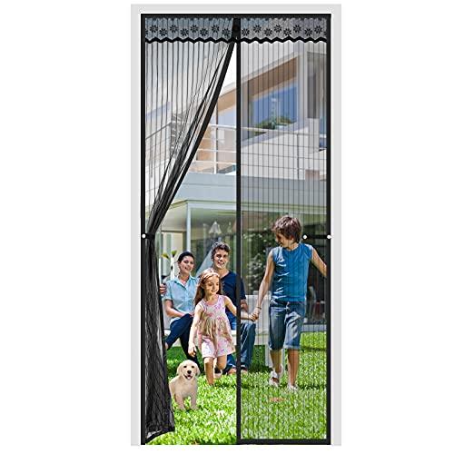 Aircover Mosquitera magnética para puerta, 2021, 90 x 210 cm, protección contra insectos, puerta de balcón, montaje adhesivo sin agujeros, sótano y salón, color negro