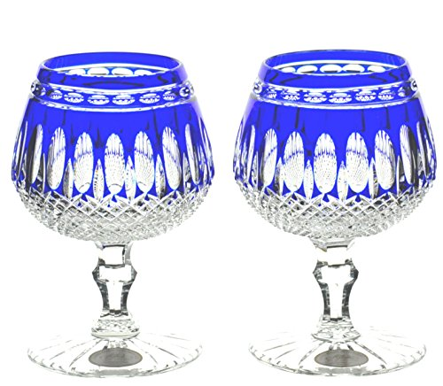 AJka Cobalt Blue Cased Crystal Brandy Glasses Snifters (2)