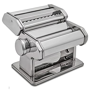 HuiJia Wellness 150 Pasta Maker Machine Stainless Steel Pasta Roller Machine Includes Pasta Cutter Hand Crank Attachments for Tagliattelle Linguine Lasagna