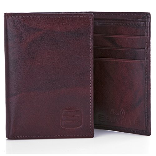 Suvelle Trifold Mens Genuine Leather RFID Blocking Slimfold Travel Wallet WR91