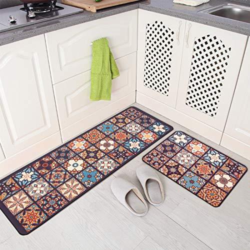 JOFLY Alfombra para Cocina Lavable y Antideslizante, Felpudos Cómodos y Desinfectantes de Goma para Oficina, Salón, Habitación y Entrada Casa- Juego de 2 (44x60 + 44x120cm, Color-1)