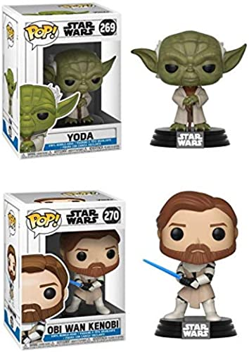la red entera más baja FunkoPOP FunkoPOP FunkoPOP Star Wars The Clone Wars  Yoda + OBI WAN Kenobi – Vinyl Figure Bundle  garantizado