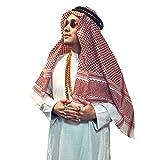 Adult Men Arab Head Scarf Keffiyeh Middle East Desert Shemagh Wrap Muslim Headwear Arabian Costume Accessories (Red)