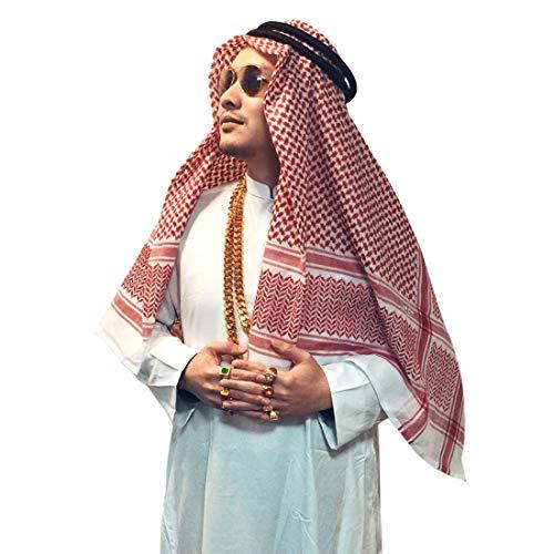 Adult Men Arab Head Scarf Keffiyeh Middle East Desert Shemagh Wrap...