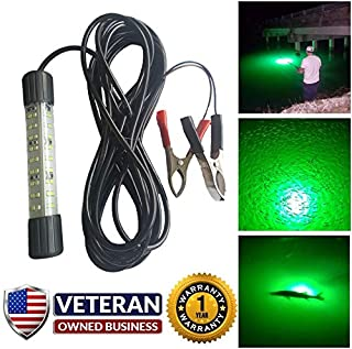 Just Released 25w 3,450 Lumen 12v Green Underwater LED Fishing Light - Most Powerful & Innovative Compact Designed Mini BriteBite by IllumiSea - Catch More Shrimp, Bait, and Fish in Fresh & Saltwater