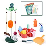 iPlay, iLearn Kids Cleaning Set Toys, Toddler Broom Baby Mop Dustpan Playset, Pretend Play House Cleaning Kit Products, Child Size Little Housekeeping Supplies, Birthday Gift 3 4 5 Year Old Boys Girls